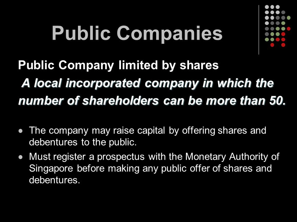 Public Companies Public Company limited by shares