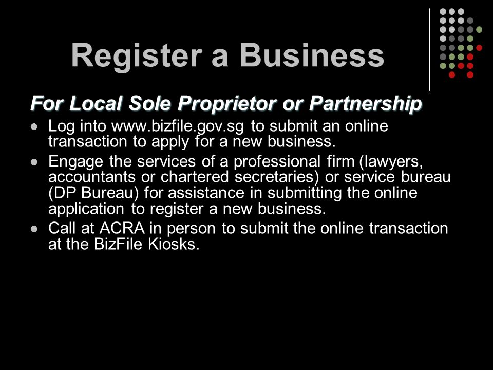 Register a Business For Local Sole Proprietor or Partnership
