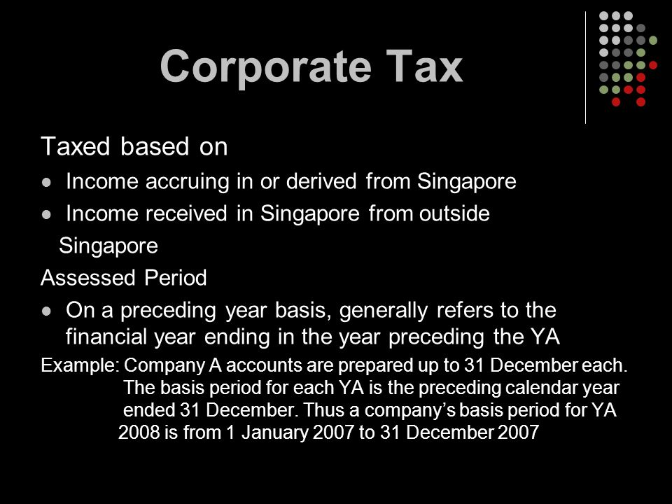 Corporate Tax Taxed based on