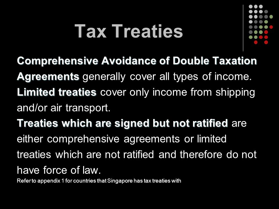 Tax Treaties Comprehensive Avoidance of Double Taxation