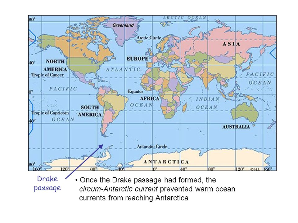 Drake passage. Once the Drake passage had formed, the. circum-Antarctic current prevented warm ocean.