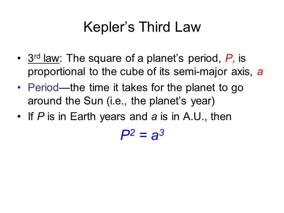Kepler's Third Law 3rd law: The square of a planet's period, P, is proportional to the cube of its semi-major axis, a.