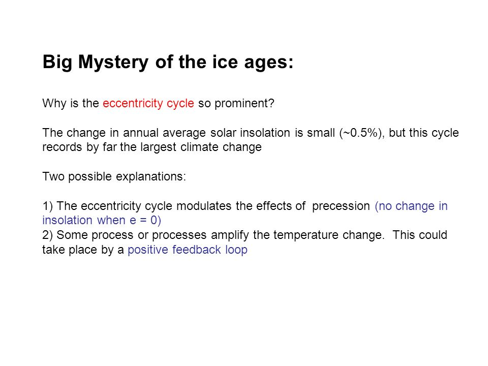 Big Mystery of the ice ages: