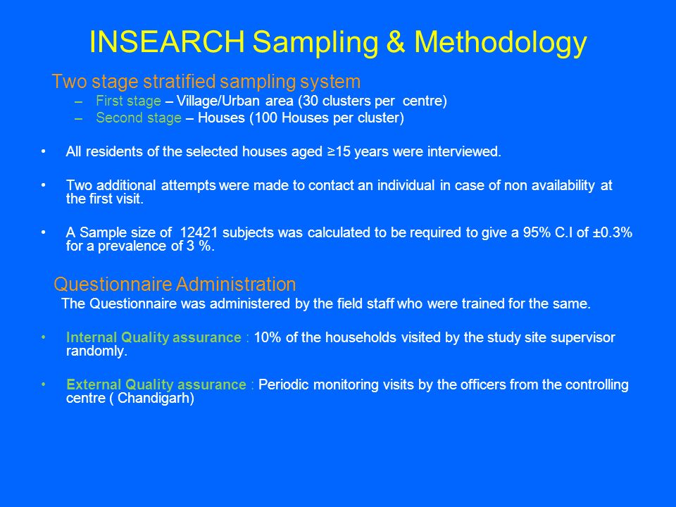 INSEARCH Sampling & Methodology