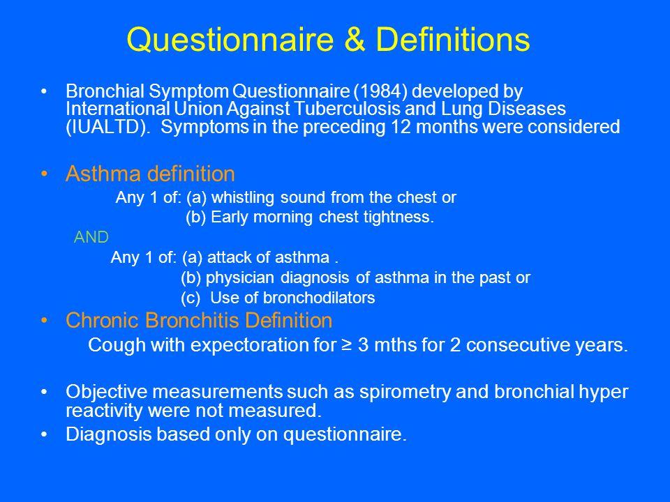 Questionnaire & Definitions