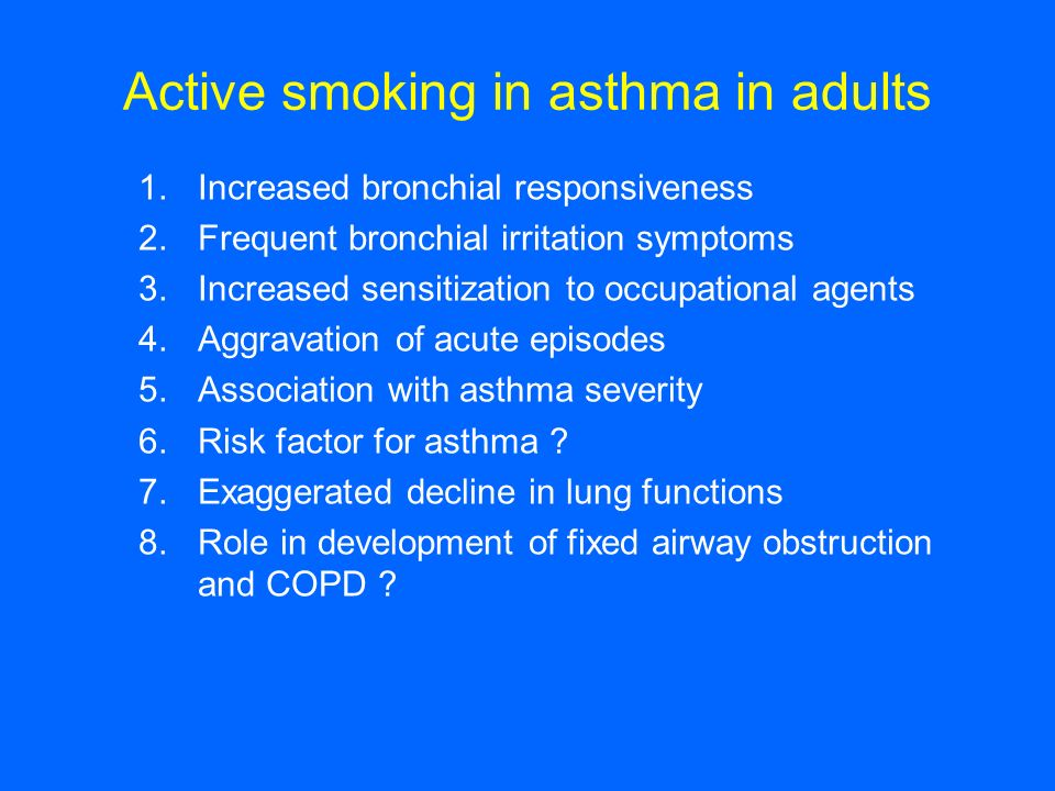 Active smoking in asthma in adults