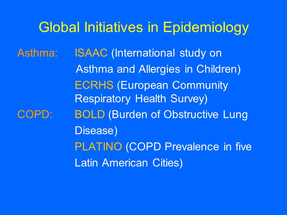 Global Initiatives in Epidemiology