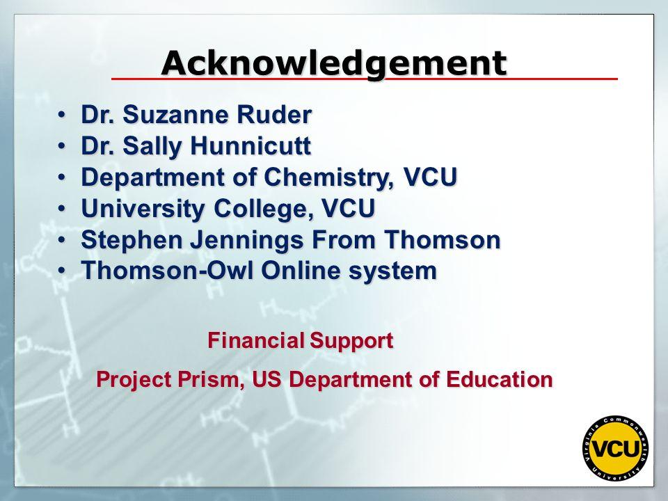 Acknowledgement Dr. Suzanne Ruder Dr. Sally Hunnicutt