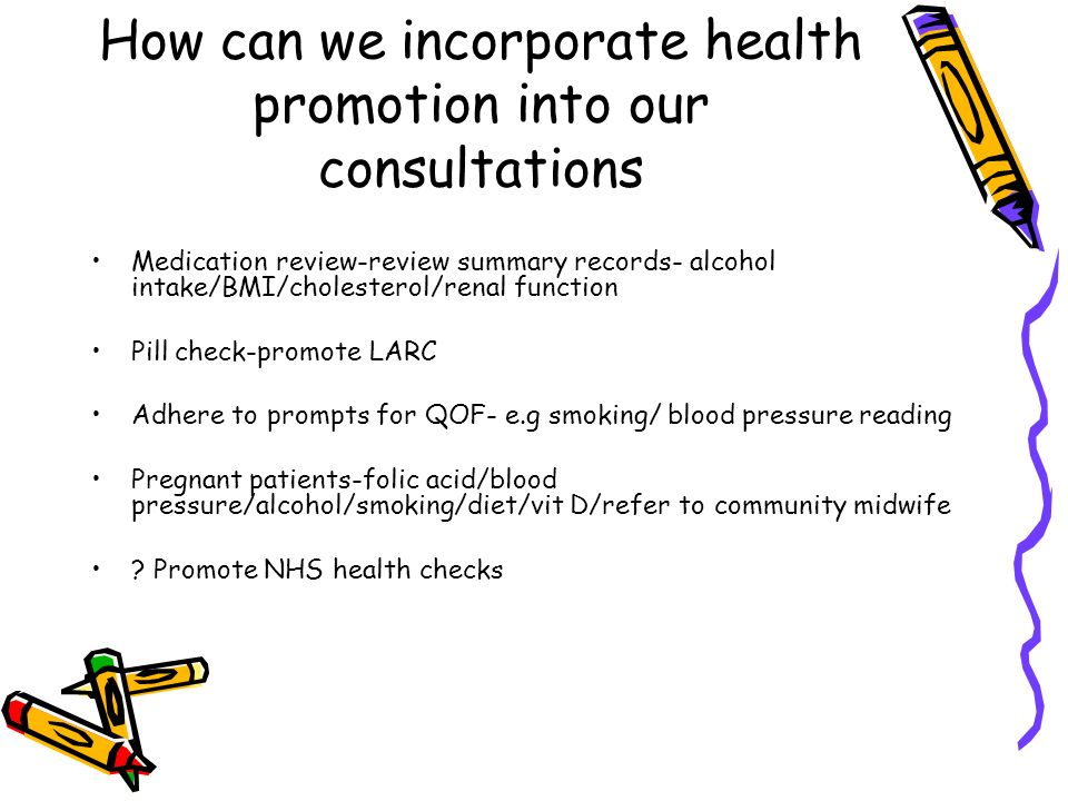 How can we incorporate health promotion into our consultations