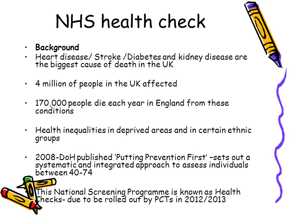 NHS health check Background