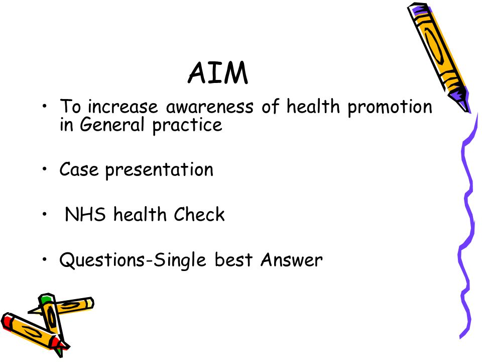 AIM To increase awareness of health promotion in General practice