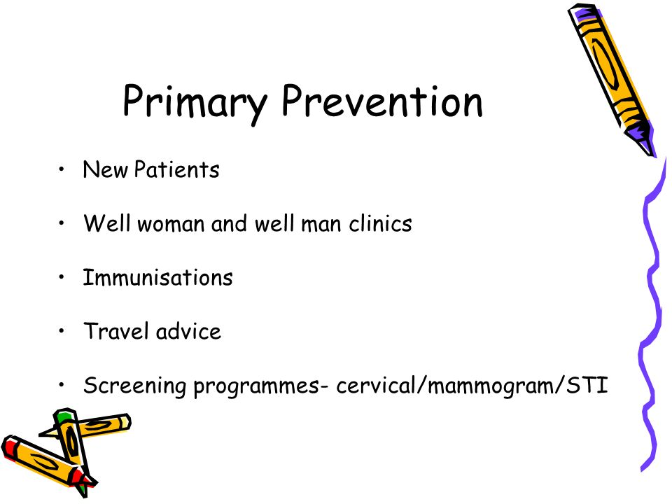 Primary Prevention New Patients Well woman and well man clinics