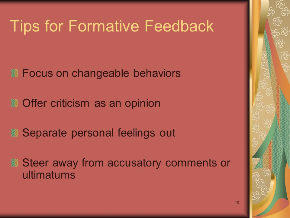 Tips for Formative Feedback