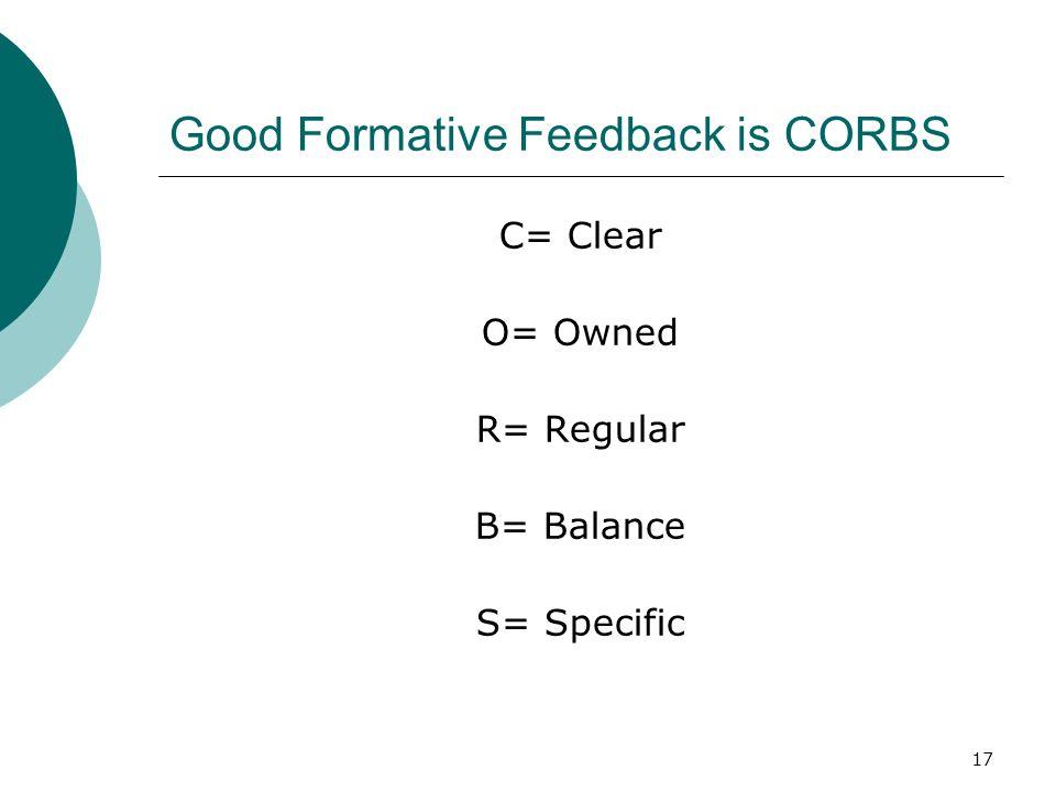 Good Formative Feedback is CORBS