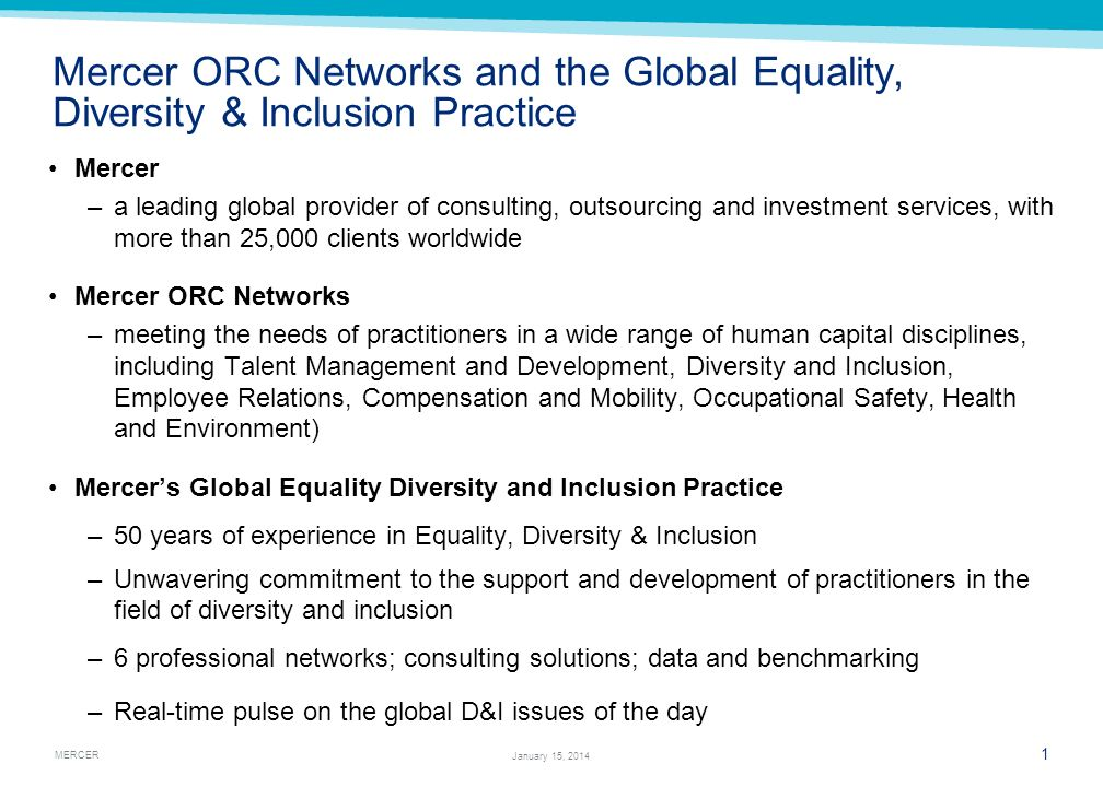 Mercer ORC Networks and the Global Equality, Diversity & Inclusion Practice