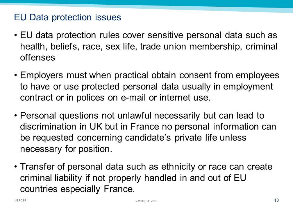 EU Data protection issues