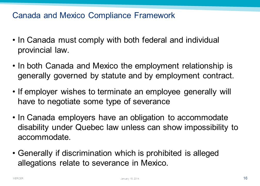 Canada and Mexico Compliance Framework