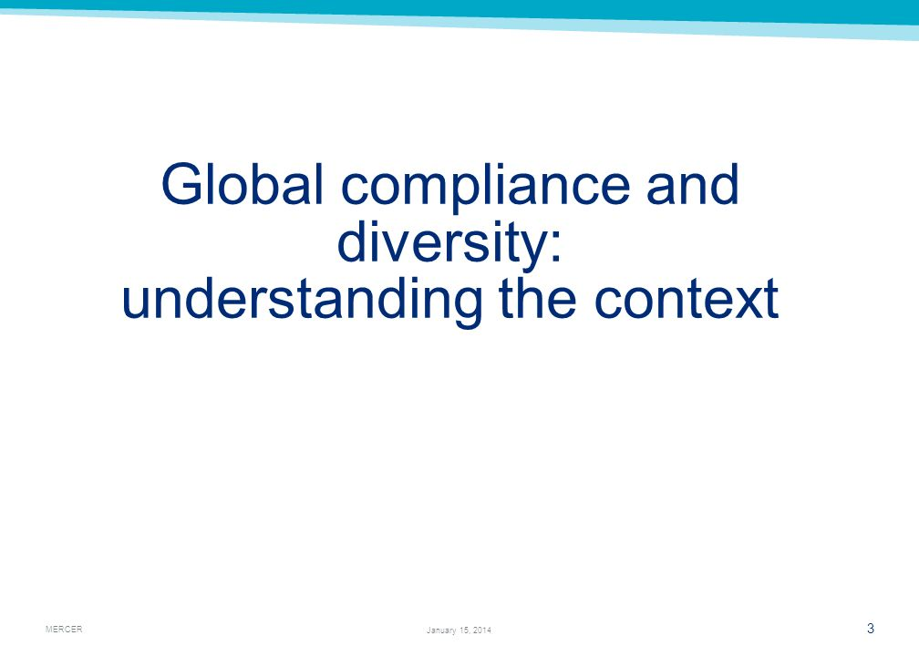 Global compliance and diversity: understanding the context