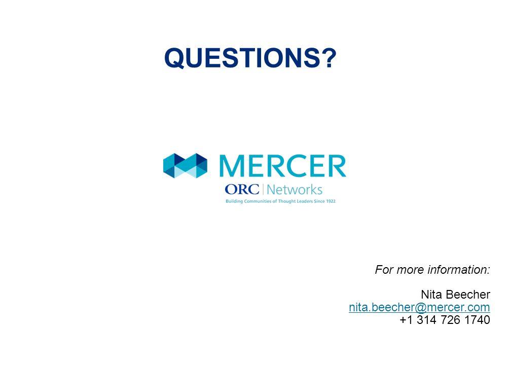 QUESTIONS For more information: Nita Beecher nita.beecher@mercer.com