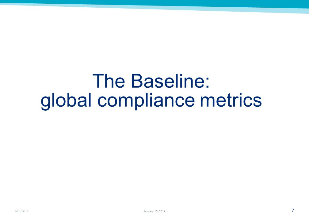 The Baseline: global compliance metrics