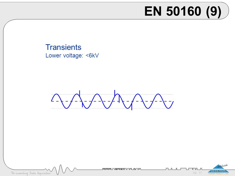 EN 50160 (9) Transients Lower voltage: <6kV