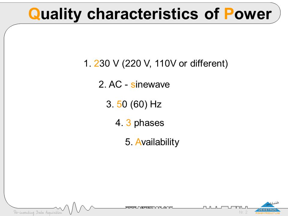 Quality characteristics of Power