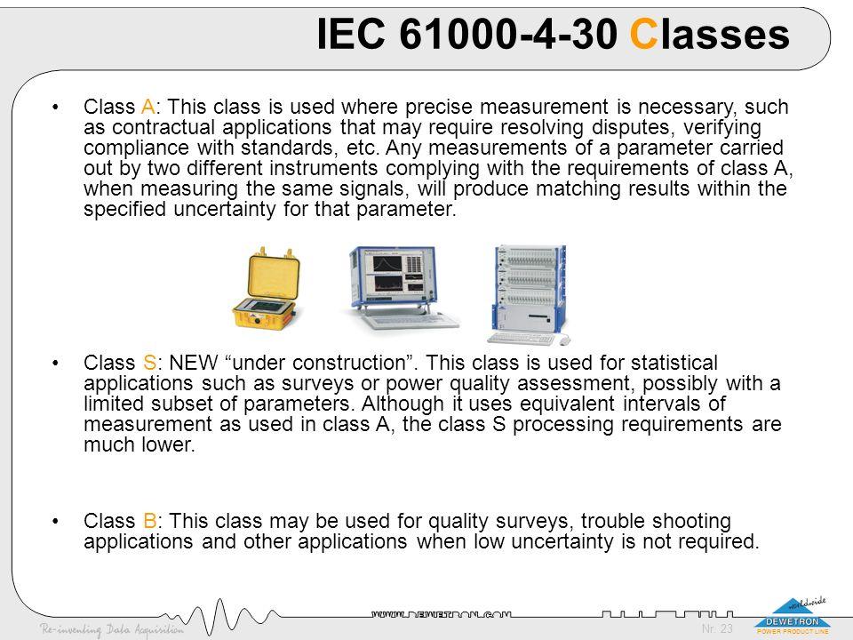 IEC 61000-4-30 Classes