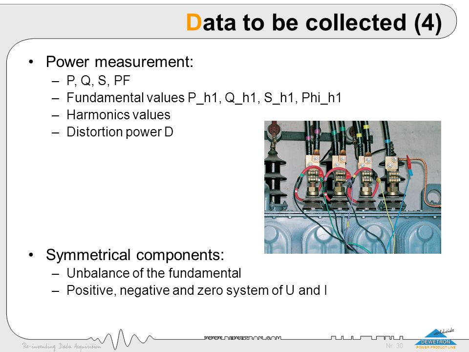Data to be collected (4) Power measurement: Symmetrical components: