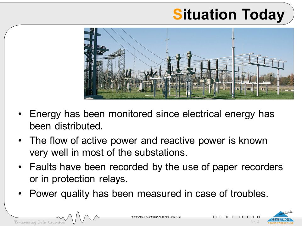 Situation Today Energy has been monitored since electrical energy has been distributed.