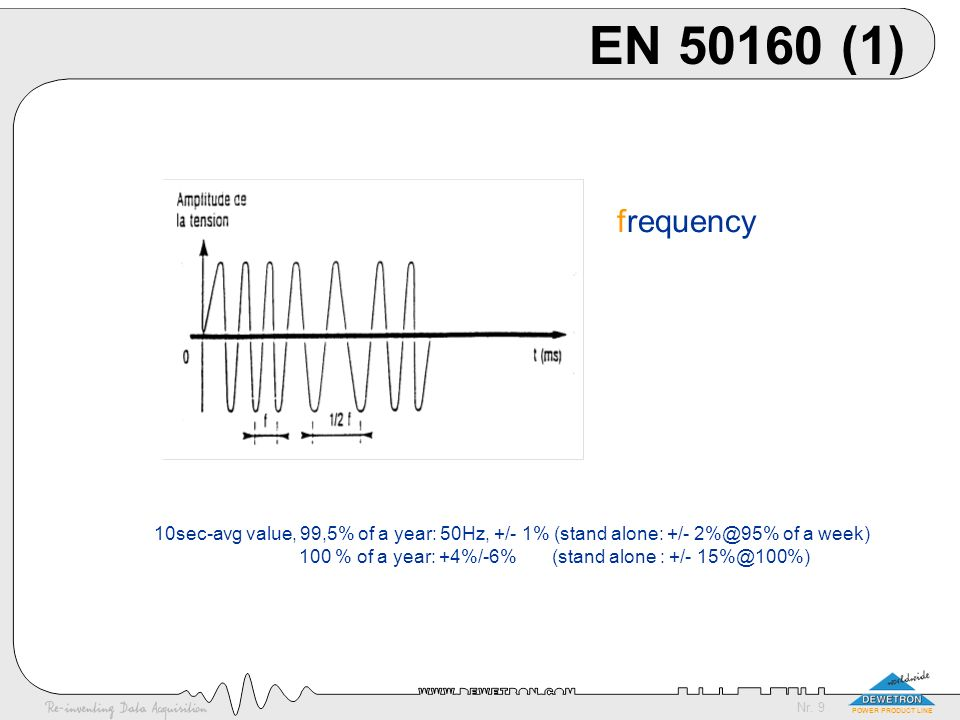 EN 50160 (1) frequency. 10sec-avg value, 99,5% of a year: 50Hz, +/- 1% (stand alone: +/- 2%@95% of a week)