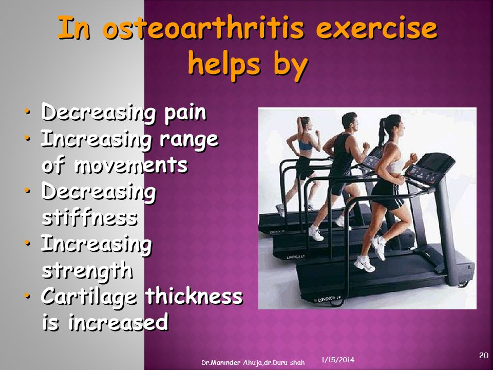 In osteoarthritis exercise helps by