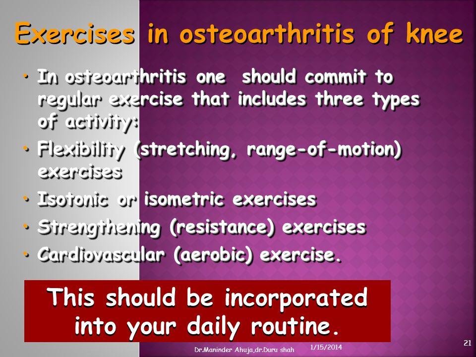 Exercises in osteoarthritis of knee