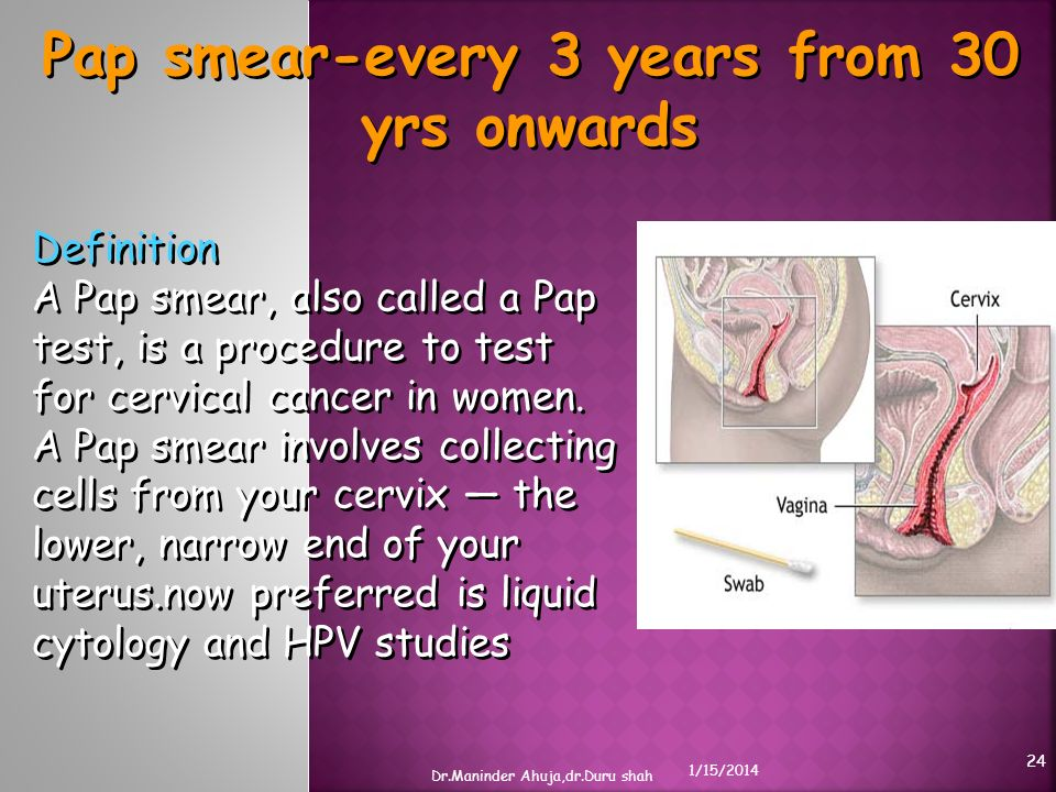 Pap smear-every 3 years from 30 yrs onwards