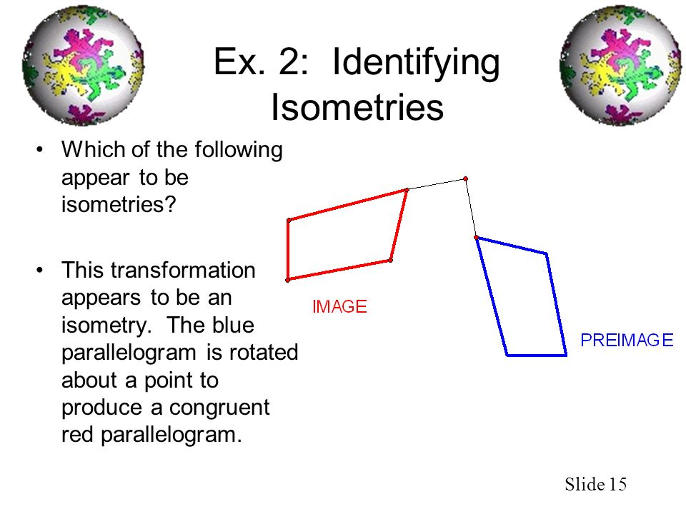 Ex. 2: Identifying Isometries