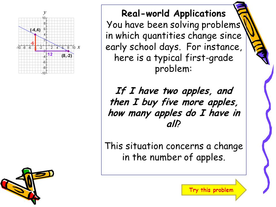 Real-world Applications You have been solving problems in which quantities change since early school days. For instance, here is a typical first-grade problem: If I have two apples, and then I buy five more apples, how many apples do I have in all This situation concerns a change in the number of apples.