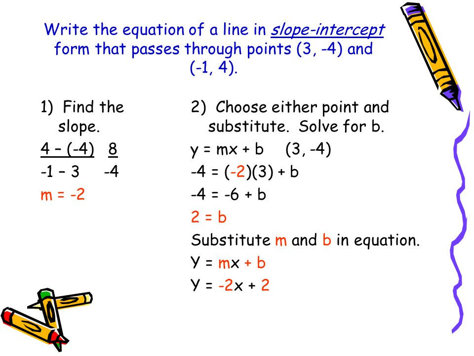 Write the equation of a line in slope-intercept form that passes through points (3, -4) and (-1, 4).