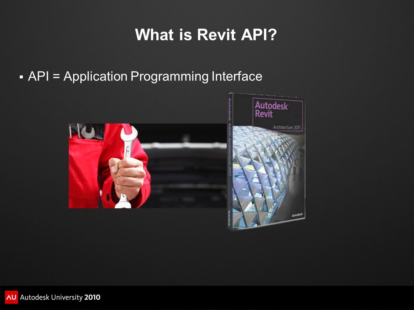 What is Revit API API = Application Programming Interface
