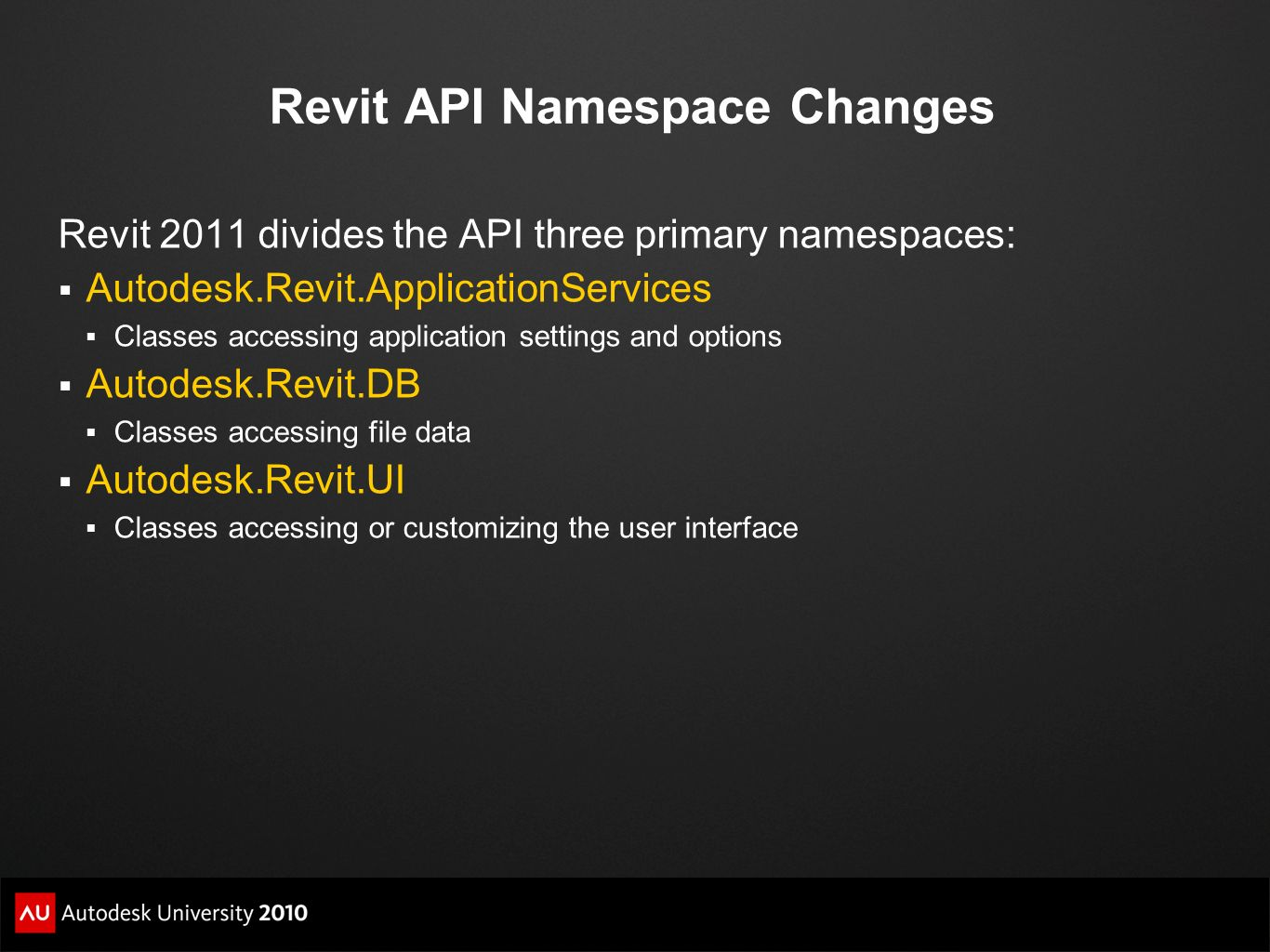Revit API Namespace Changes