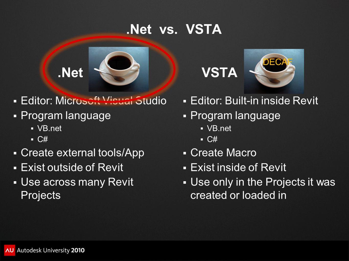 .Net vs. VSTA .Net VSTA Editor: Microsoft Visual Studio