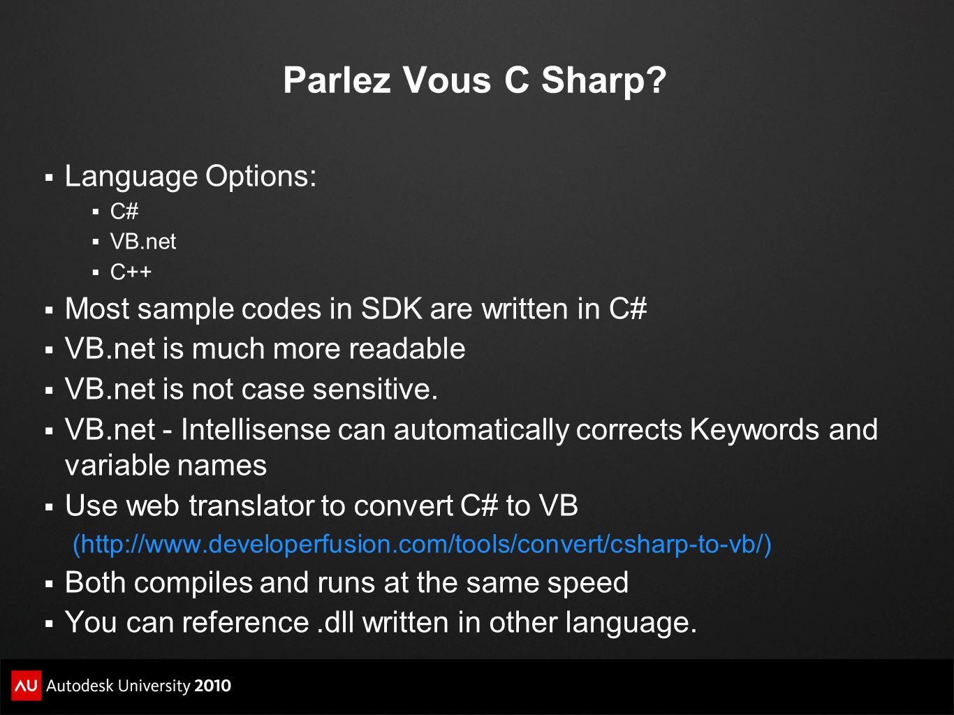 Parlez Vous C Sharp Language Options: