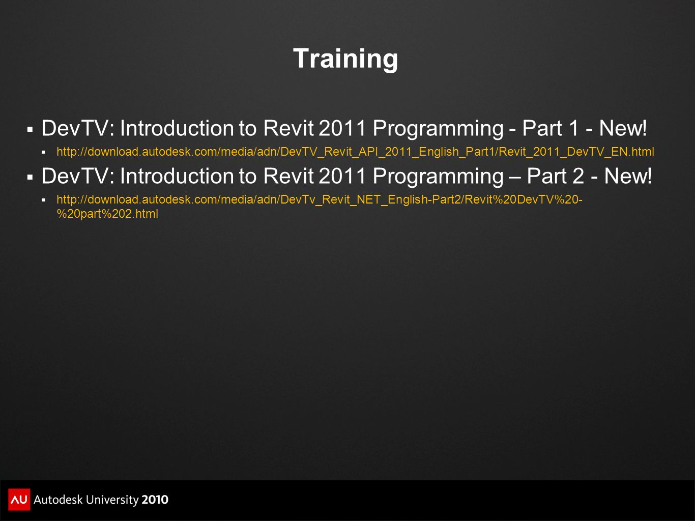 Training DevTV: Introduction to Revit 2011 Programming - Part 1 - New!