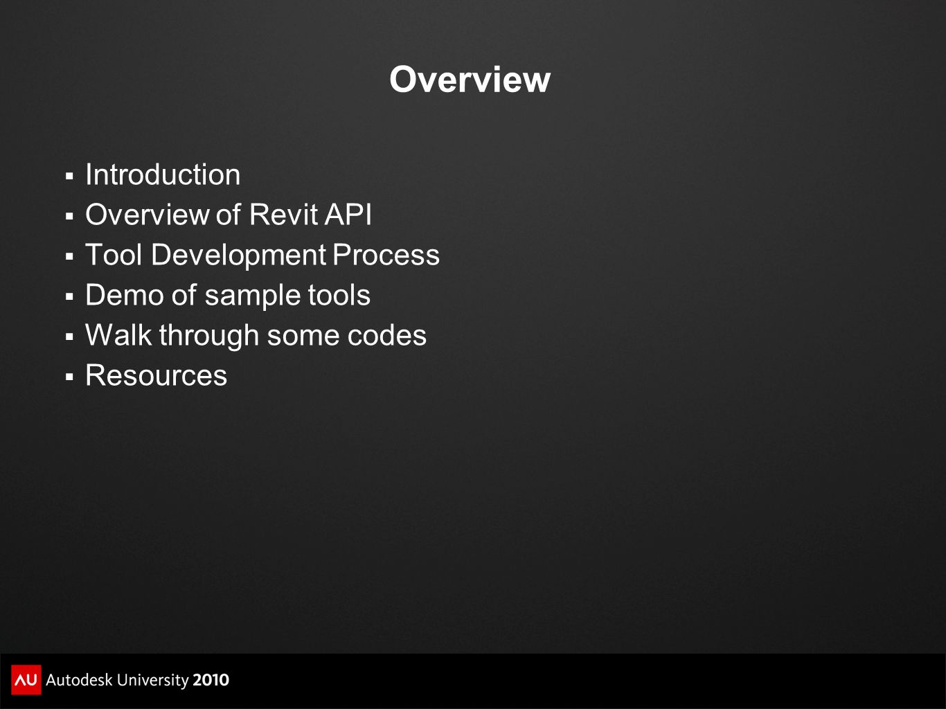 Overview Introduction Overview of Revit API Tool Development Process
