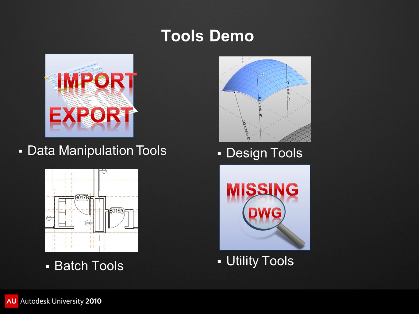 Import Export MissinG Tools Demo Dwg Data Manipulation Tools