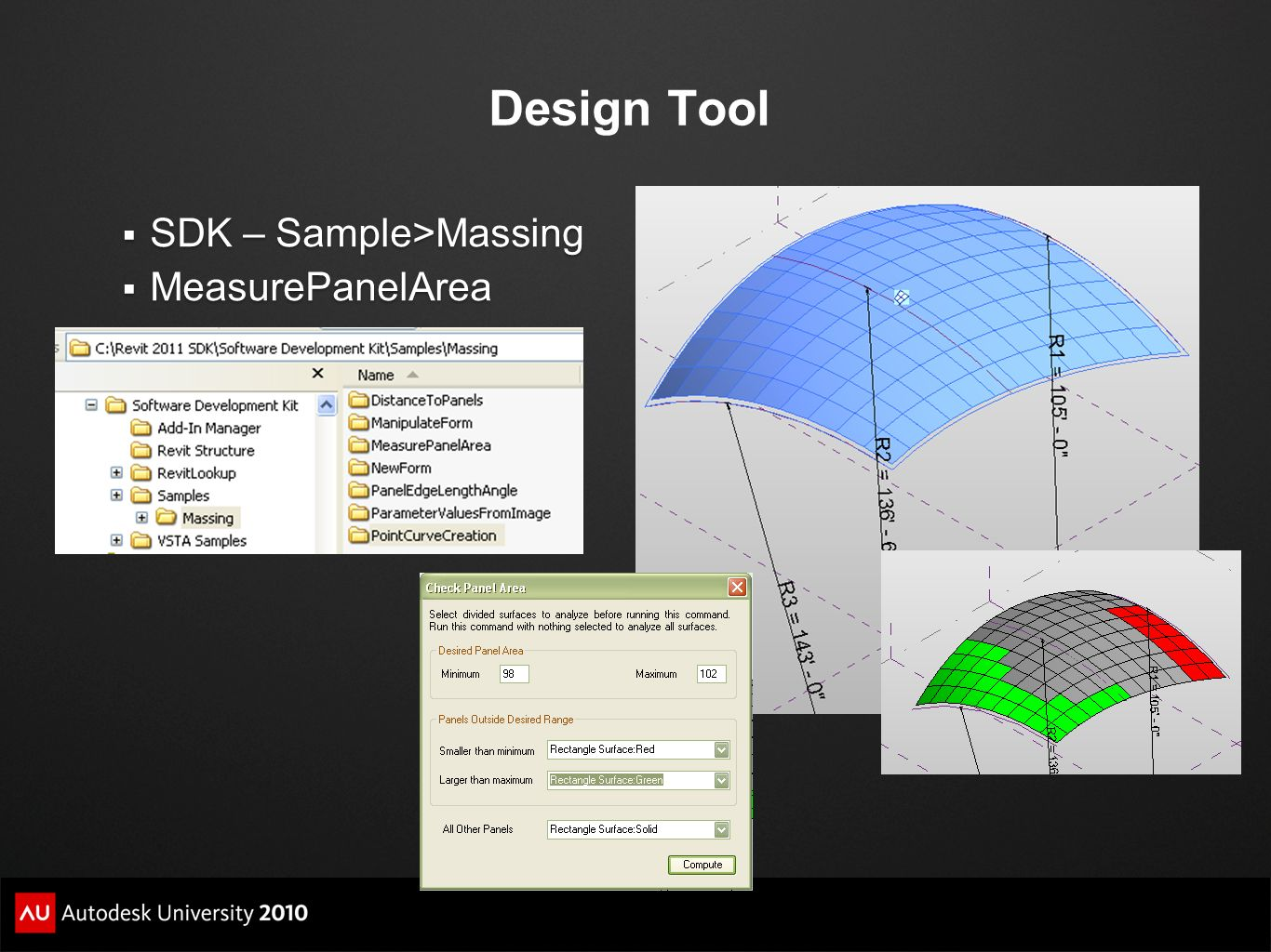 Design Tool SDK – Sample>Massing MeasurePanelArea