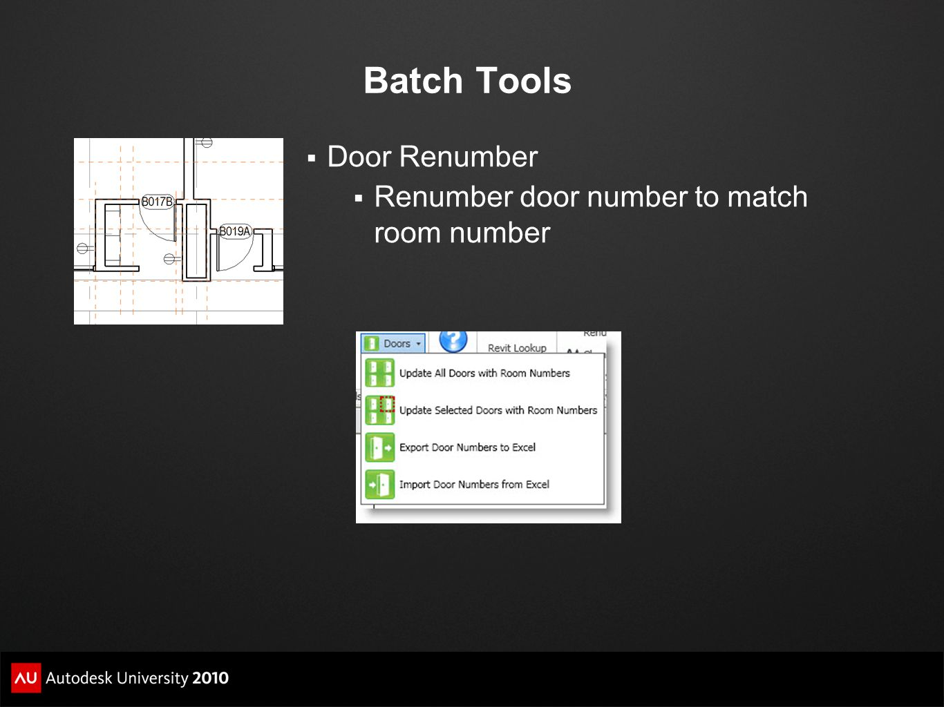 Batch Tools Door Renumber Renumber door number to match room number