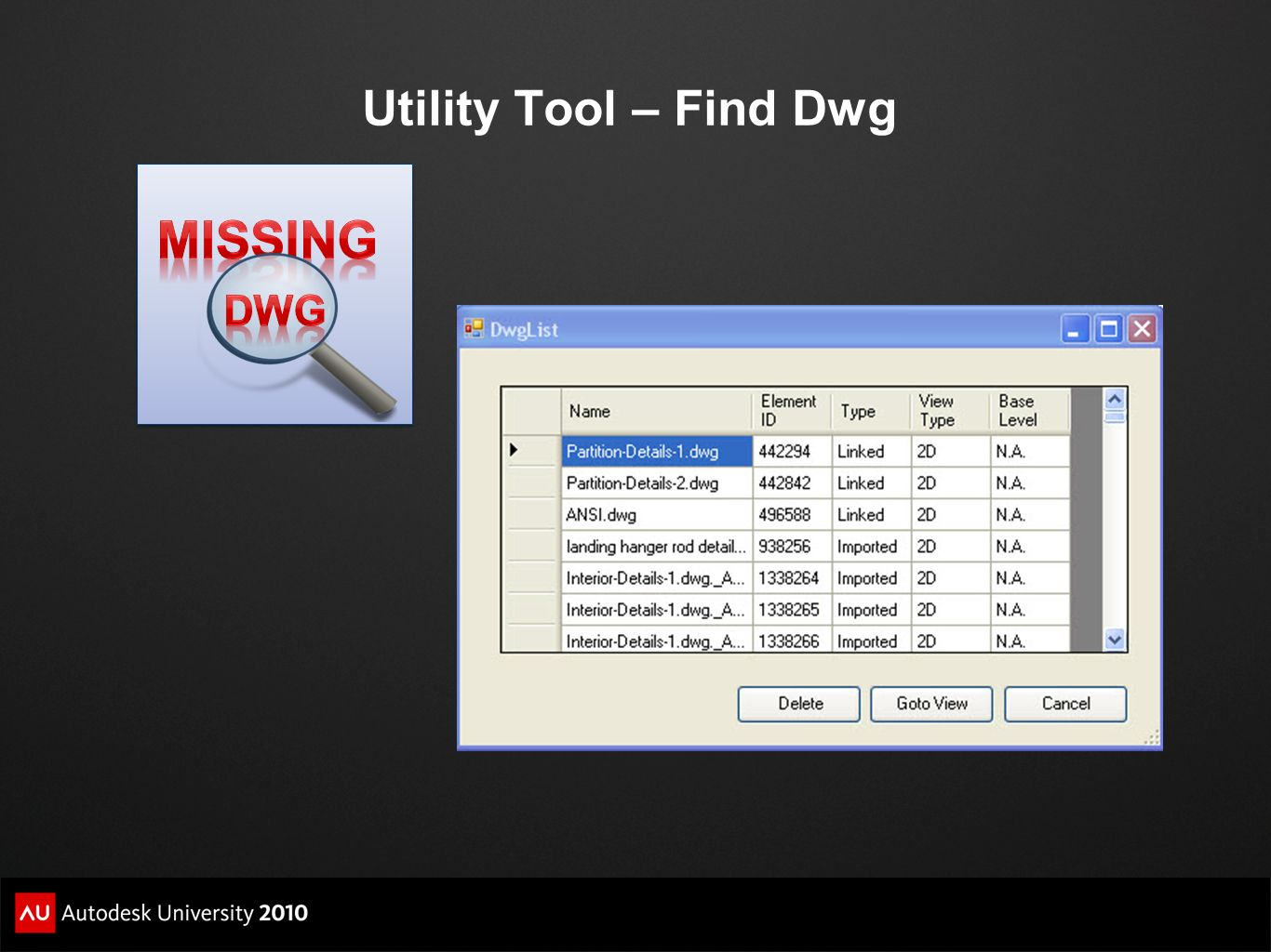 Utility Tool – Find Dwg MissinG Dwg