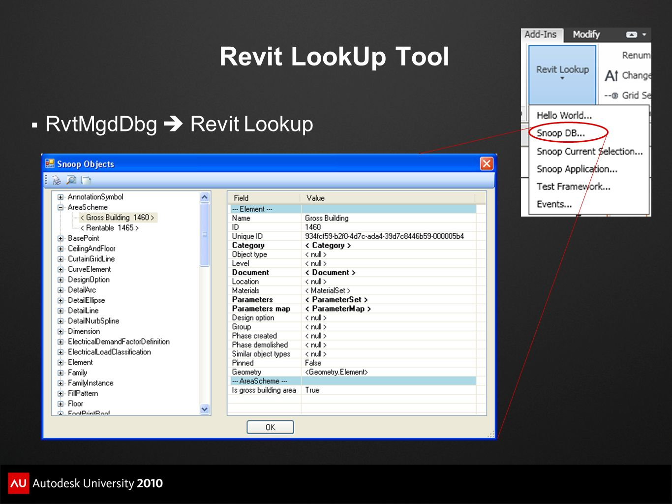 Revit LookUp Tool RvtMgdDbg  Revit Lookup