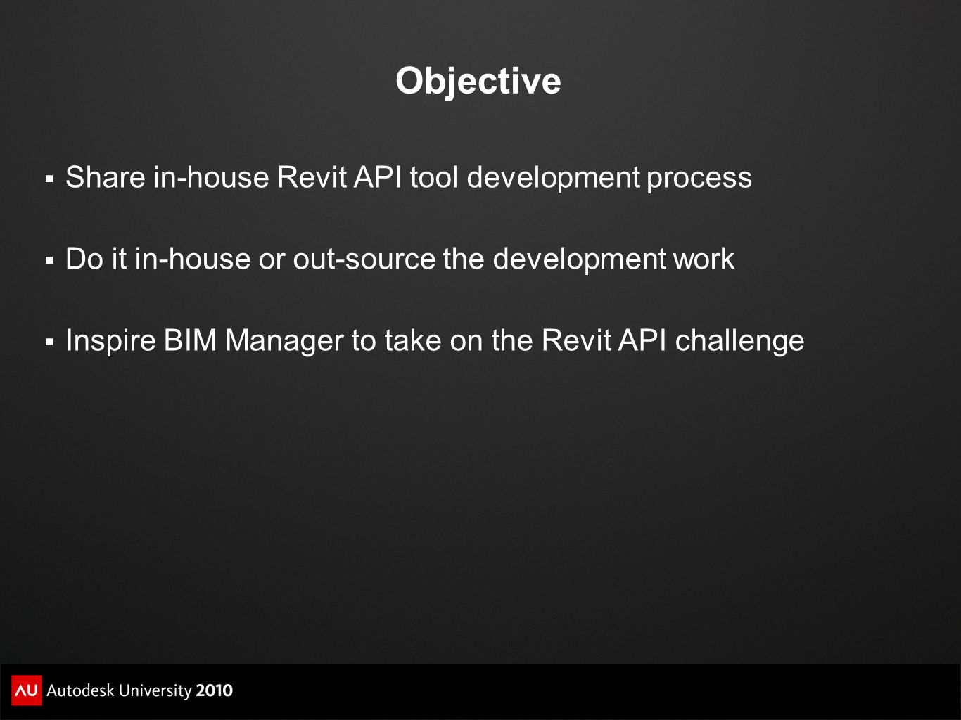 Objective Share in-house Revit API tool development process