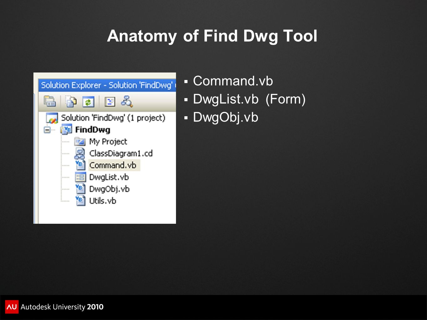 Anatomy of Find Dwg Tool