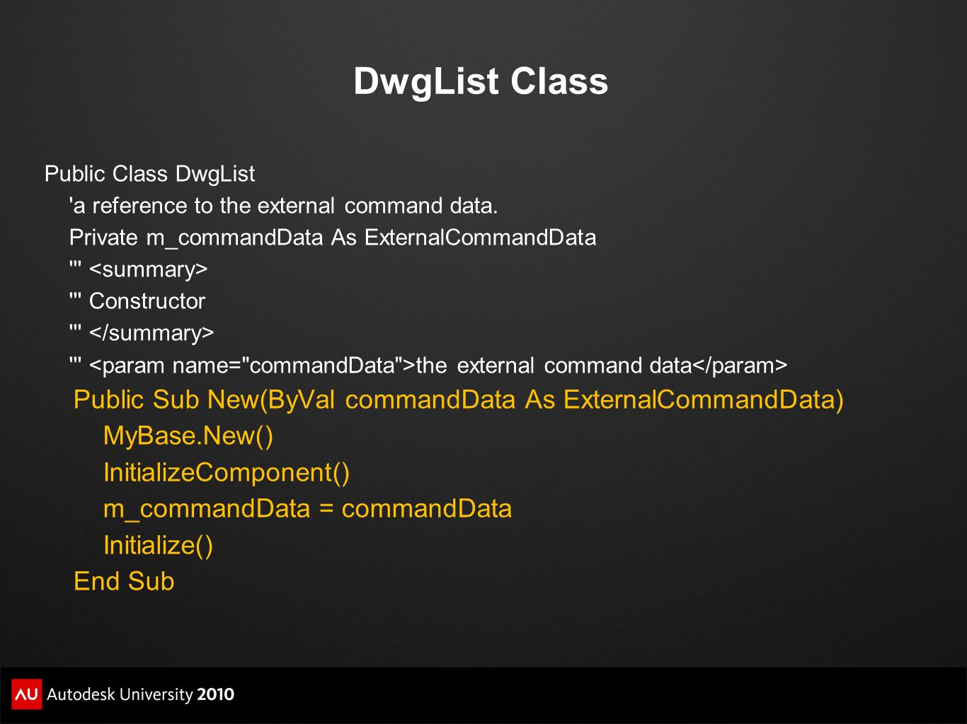 DwgList Class Public Sub New(ByVal commandData As ExternalCommandData)